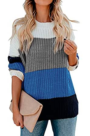 AQOTHES Women's Striped Color Block Casual Oversized Long Sleeve Knit Pullover Sweater Blue