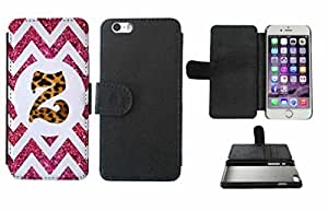 Leopard Print Custom Monogrammed and Pink Glitter Chevron Initial Z Leather Phone Case Cover with Credit Card Holder Apple iPhone 6 Plus (5.5 Inches)