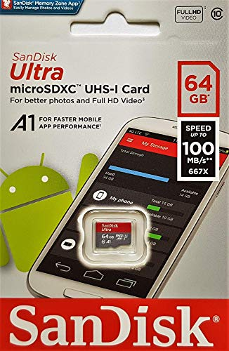 SanDisk 64GB Ultra microSDXC UHS-I Memory Card with Adapter - 100MB/s, C10, U1, Full HD, A1, Micro SD Card - SDSQUAR-064G-GN6MA