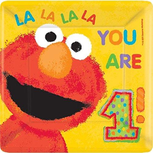 1st Birthday Paper (Sesame Street & Elmo's 1st Birthday Square Plates Tableware, Paper, 10