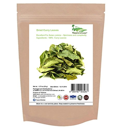 Yours Kitchen Premium Dried Curry Leaves, Super Dry and Extremely Aromatic, A staple of Indian cooking and South East Asian cuisine (0.70 Ounce)