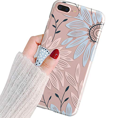 Charming Blossoms (iPhone 6 Plus Case,iPhone 6S Plus Case,Charming Daisy Flower Blossoms Clear Transparent Soft Rubber Anti Scratch Shockproof Protective Bumper Case Cover for Apple iPhone 6/6S Plus)