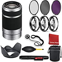 Sony E 55-210mm F4.5-6.3 OSS Lens for Sony E-Mount Cameras (Silver) with 3 Peice Filter Kit, Blower, Lens Hood, Lens Pen, Case, Cap Keeper, Cleaning Cloth, 3 Piece Macro Closeup Kit