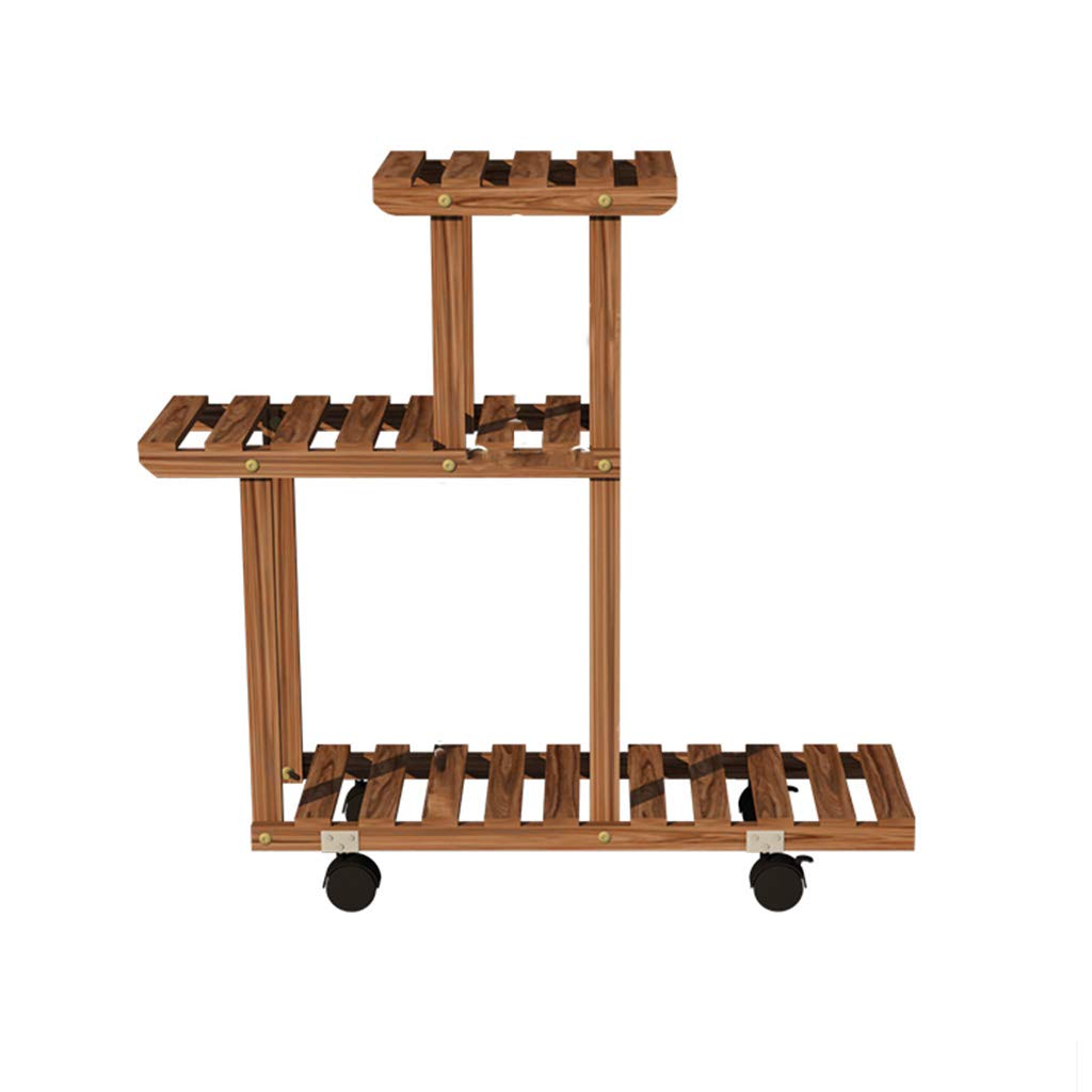 LIYANHJ Piantana in Legno con Ruote Mobili per Esterni da Esterno 3 Livelli Verticali in Ferro battuto Scala per Scale Mensola da Giardino Balcone Angolo del Patio