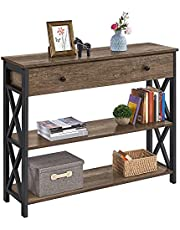 YAHEETECH Industrial Console Table with Drawer, Sofa Table Narrow Console Table for Entryway/Living Room, Entry Table with 2 Tier Open Shelves
