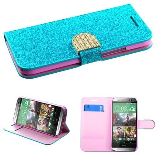 Glitter Diamonds Wallet Stand Protector Cover Phone Case HTC One 2 M8 + FREE PRIMO DESIGN CARTOON FOLDABLE TOTE BAG (BLUE)