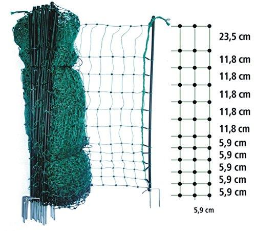 mobiler flexibler Garten-Elektrozaun grün 25m x 112cm + 8 Pfähle + Heringe (nur 5,9cm Maschenweite) Hundezaun Katzenzaun Hühnerzaun Geflügelzaun Schafzaun Zaun Weidezaun Hunde Katzen