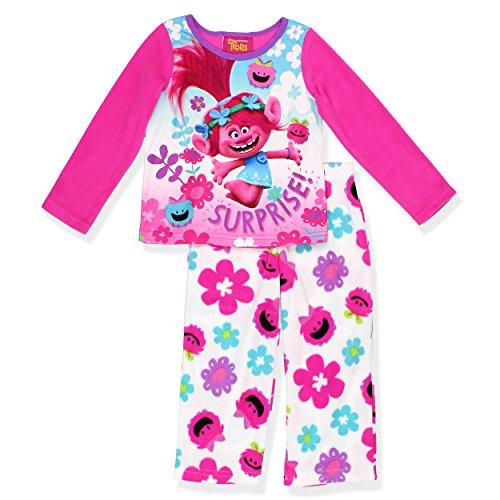 Trolls Movie Poppy Girls Fleece Pajamas (6, Pink/White)