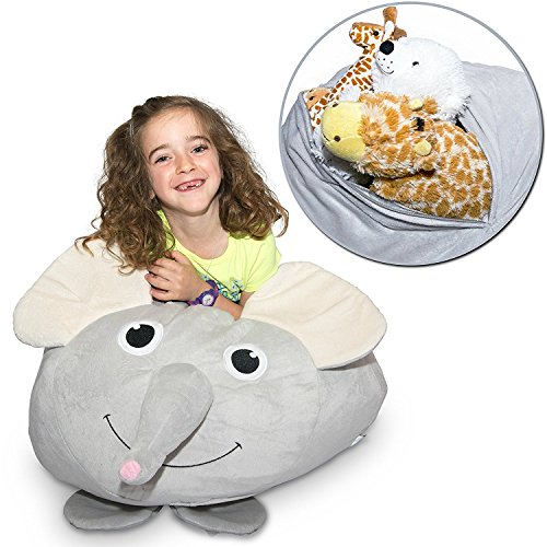 "Jumbo Stuffed Animal Storage Bean Bag – ""Soft 'n Snuggly"" Comfy Fabric Kids Love – Monkey, Pig or Elephant – Replace Your Mesh Toy Hammock or Net – Store Extra Blankets & Pillows Too"