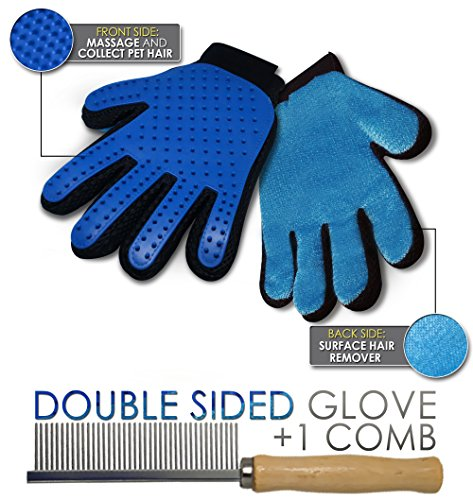 Professional Pet Grooming Glove (2 Sided) Dog and Cat Massager | Flexible Deshedding Brush and Hair Rake Removal Comb | Remove Loose Fur for Short, Medium, Long Coats
