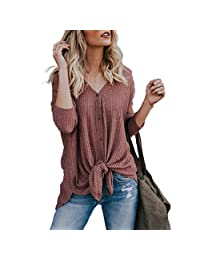 Raylans Women's Summer Long Sleeve Casual Button Down Shirts Tie Front Knot Tops