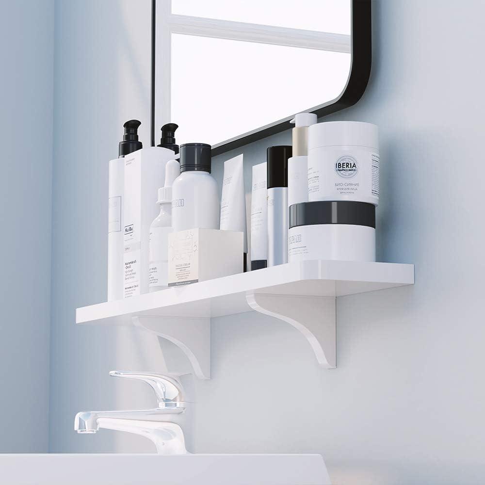 KUNGYO Weißer Kunststoff schwebendes wandregal - Absaugung Badezimmer Regal  Küche Wand Bücherregal Wandhalterung Dusche Caddy (Klein)