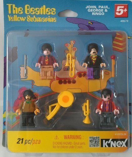 K'nex Beatles Yellow Submarine Minifigures (John, Paul, George and Ringo) (Miniature Submarine Toy)