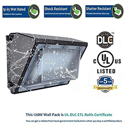 120W LED Wall Pack Light Fixture, Replace 450-800W HPS/MH Light Fixture [ 13800 Lumens / 5000K / 5 Years Warranty/DLC UL-Listed ] Weatherproof IP65 Commercial & Common Outdoor Wall Lighting.