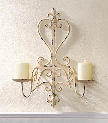 Antiqued Distressed Ivory Candle Wall Sconce Fleur De Lis Design (Lis Sconces Fleur De)