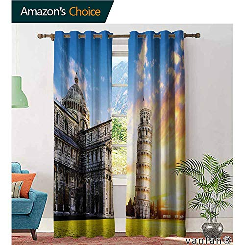 Big datastore Decorative Blackout Thermal Insulated Curtains,ItalyPlace of Miracoli Complex with The Leaning Tower of Pisa in Front Tourist Attraction,Set of 2 Panels,Multicolor,W84 xL108