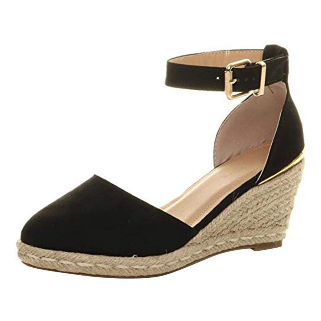 Dermanony Womens Summer Espadrille Heel Platform Wedge Sandals Ankle Buckle Strap Closed Toe Shoes Black by Dermanony _Shoes