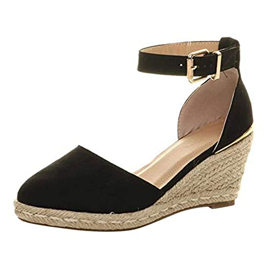 4c9bdc0f365fb Amazon.com: Wedges Sandals for Women's Ankle Strap Low Wedge ...