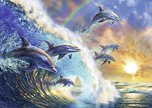 Ravensburger Dancing Dolphins 1000 Piece Jigsaw Puzzle Adults – Every Piece is Unique, Softclick Technology Means Pieces Fit Together Perfectly