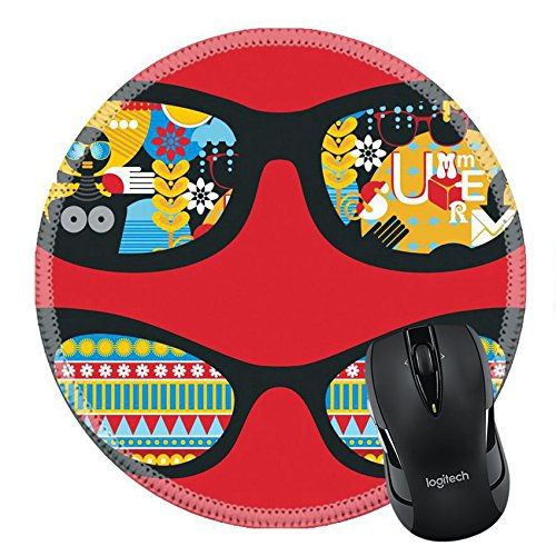 MSD Natural Rubber Mousepad Round Mouse Pad/Mat: 13285325 Retro sunglasses with summer reflection in - Eyeglass Exotic Frames