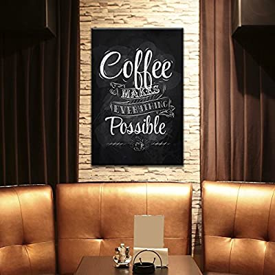 Canvas Wall Art - Coffee Makes Everything Possible - Giclee Print Gallery Wrap Modern Home Art Ready to Hang - 16x24 inches