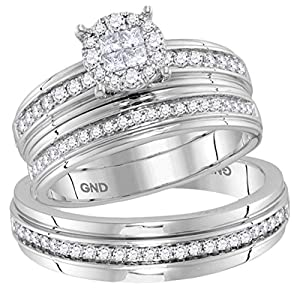14kt White Gold His & Hers Diamond Soleil Cluster Matching Bridal Wedding Ring Band Set 5/8 Cttw