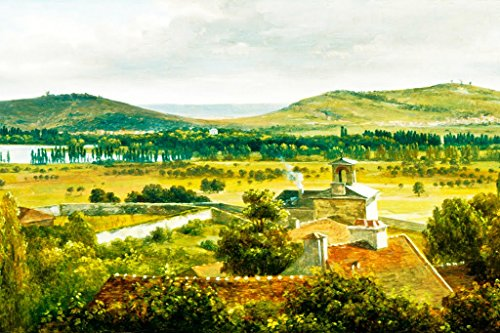 (ArtParisienne Panoramic View of The ILE-de-France by Théodore Rousseau Wall Decal, 36