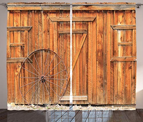 (Ambesonne Western Decor Collection, Ancient West Rural Town Rustic Weathered Wooden Door and Vintage Wagon Wheel Picture, Window Treatments, Living Room Bedroom Curtain Set, 108 X 84 Inches, Peru)