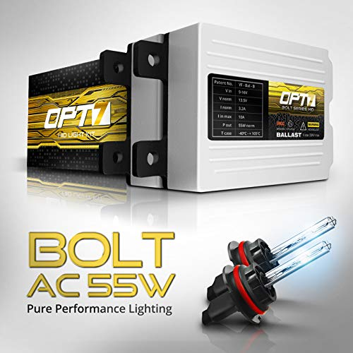 OPT7 Bolt AC 55w 9007 Bi-Xenon HID Kit - 5X Brighter - 6X Longer Life - All Bulb Sizes and Colors - 2 Yr Warranty [8000K Ice Blue Light]