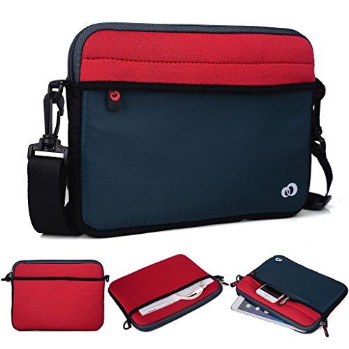 Kroo Tablet/Laptop Hülle Sleeve Case mit Schultergurt für LG G Pad II 8.0 schwarz schwarz rot