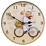SEJU 12' Silent Wooden Wall Clocks for Living Room, Kitchen, Bedroom, Office, Lounge, Vintage/Country/Retro/French Style, Large Decorative Wall Clock with Non-ticking (Bike)