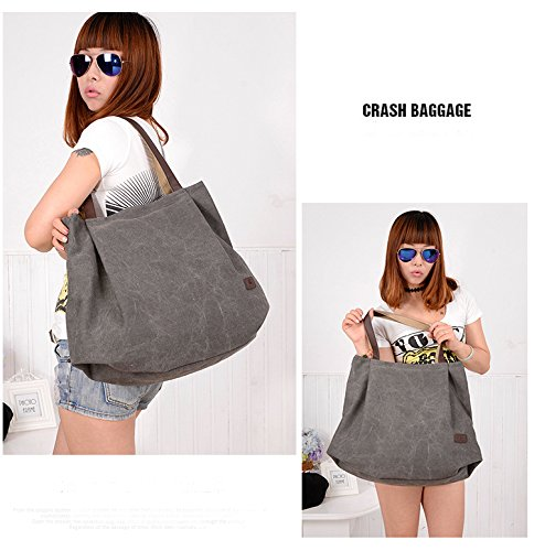 Messenger Women's Handbag Large Style Hobo Gray Casual Retro Bag Canvas Qflmy Shoulder Bag xTnUOvwZ