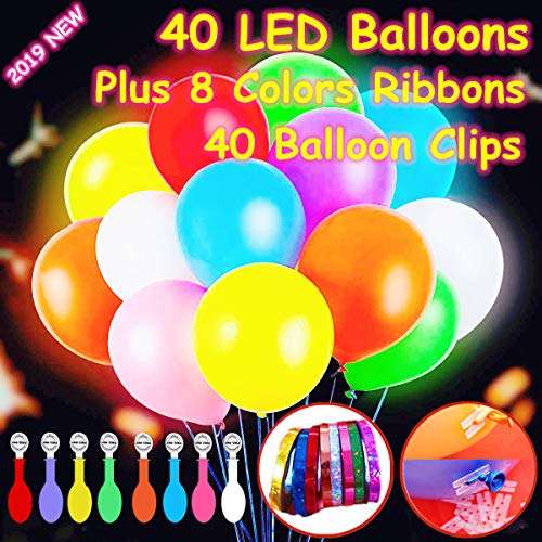 Glow In Dark Lights (40 Pack LED Light Up Balloons, Premium Mixed-Colors Flashing Party Lights Lasts 12-24 Hours , Glow in the dark For Parties, Birthdays Wedding Decorations And Halloween Christmas Festival,Fillable with Helium,)
