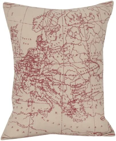 Thro by Marlo Lorenz 5958 Map Reversible Pillow, 14 by 18-Inch, Red Natural