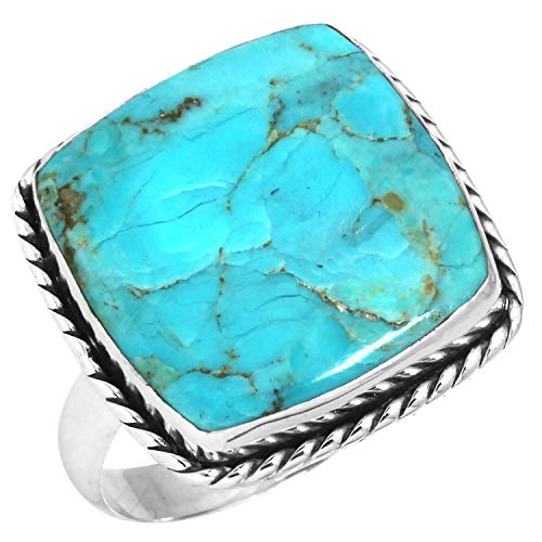 Natural Kingman Turquoise Ring Solid 925 Sterling Silver Fashion Jewelry Size 10