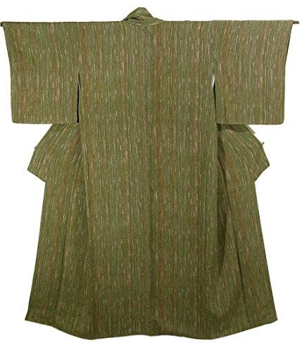 リサイクル 着物 小紋 正絹 袷 掠れた縦縞模様  裄65.5cm 身丈163cm
