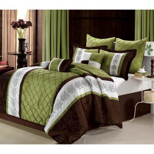 Chic Home Livingston 12-Piece Comforter Set, Queen, Sage
