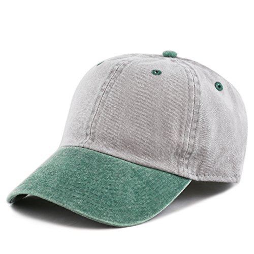(The Hat Depot Cotton Pigment Dyed Two Tone Low Profile Six Panel Plain Cap (Grey Green))