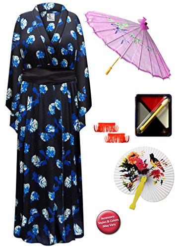 Blue Rose Geisha Robe Plus Size Supersize Costume - Deluxe Kit 8x/9x