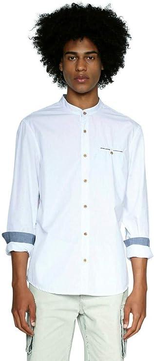 Desigual Cam Owen - Camisa de hombre con cuello de coreana y rayas (XL): Amazon.es: Ropa y accesorios