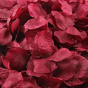 1000 Pcs Artificial Silk Rose Petals, Tuscom Fake Rose Flower Petals for Wedding Party Confetti Flower Girl Bridal Shower Valentine Day Romantic Decor Hotel Home Decoration (Wine) 71