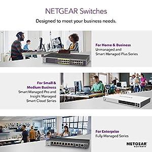 NETGEAR 24-Port Gigabit Ethernet Unmanaged PoE+ Switch (GS324P) - with 16 x PoE+ @ 190W, Desktop/Wallmount