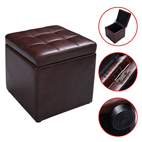 New Brown Cube Ottoman Pouffe Storage Box Lounge Seat Footstools with Hinge Top (Bar Stool Single Foot Ring)