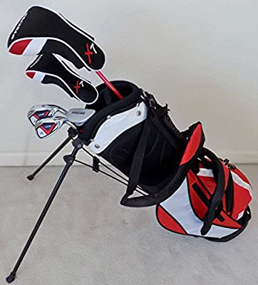Boys Ages 5-8 Junior Golf Club Set Complete Driver, Hybrid, Irons, Putter, Stand Bag for Kids Red Color Professional Tour Jr. by Tartan Sports