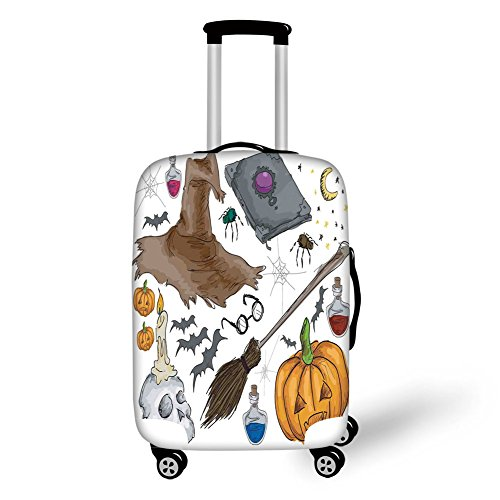 Travel Luggage Cover Suitcase Protector,Halloween Decorations,Magic Spells Witch Craft Objects Doodle Style Grunge Design Candle Skull,Multi,for Travel -