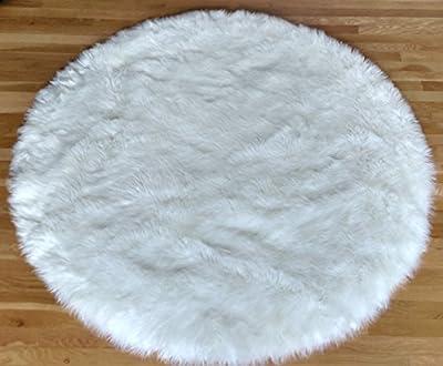 Faux Fur Sheepskin Area Rug Shaggy Pure White Shag Round (5'x5')