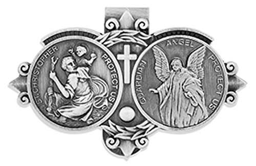 Catholic Visor Clip for Protection While Driving (Saint Christopher / Guardian Angel)