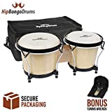 """Bongo Drum Set for Adults Kids Beginners Professionals [Upgraded Packaging] - Set of 6"""" and 7"""" Tunable Percussion Instruments - Natural Animal Hides Hickory Shells Durable Wood Metal with Tuning Wrench"""