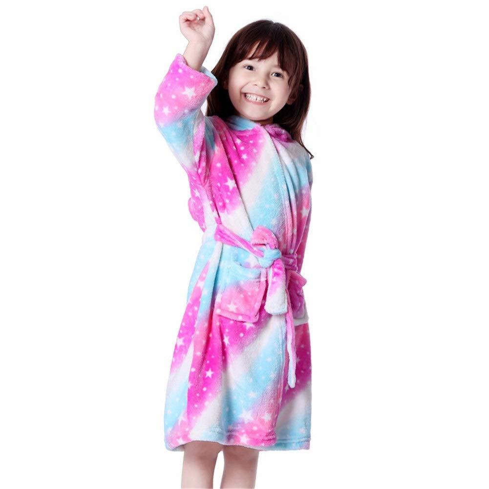 120 cm Pijama Infantil de Franela de oto/ño e Invierno para ni/ñas Grandes con dise/ño de arco/íris Tianma y Bata de ba/ño de oto/ño