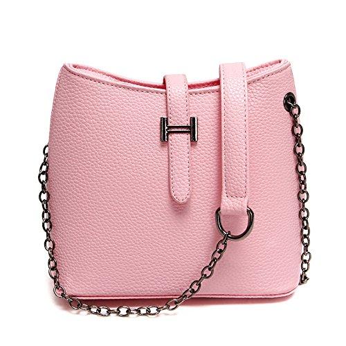Nuevo bolso de hombro simple moda cuchara retro bolsa bolso casual, rojo Pink
